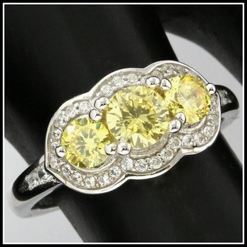 Solid .925 Sterling Silver, 1.10ctw Yellow Topaz & White Sapphire Ring sz 7