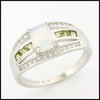 Solid .925 Sterling Silver, 1.14ctw Opal, 0.18ctw Green Amethyst & 0.12ctw White Sapphire Ring sz 7.75