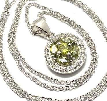 Solid .925 Sterling Silver, 1.15ctw Peridot & 0.25ctw White Diamonique Necklace
