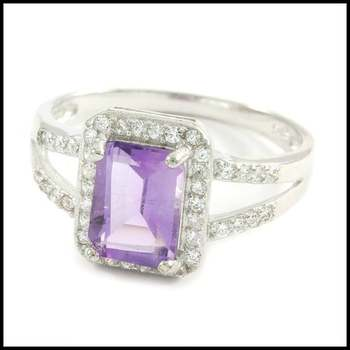 Solid .925 Sterling Silver, 1.20ctw Genuine Amethyst & 0.25ctw White Sapphire Ring Size 6.5