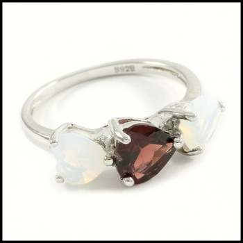 Solid .925 Sterling Silver, 1.20ctw Genuine Garnet & 1.7ctw Opal Ring Size 8.25