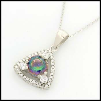 Solid .925 Sterling Silver, 1.24ctw Green Mystic Topaz & (AAA Grade) CZ's Pendant Necklace