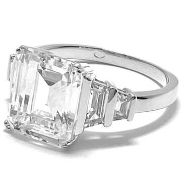 Solid .925 Sterling Silver, 12.50ctw White Diamonique Engagement Ring Size 8