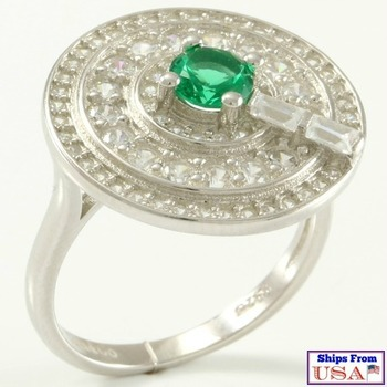 Solid .925 Sterling Silver, 1.25ctw  Emerald & White Sapphire Ring Size 8