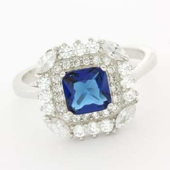 Solid .925 Sterling Silver, 1.25ctw Sapphire & 0.56ctw White Topaz Ring sz 7