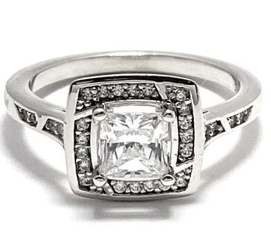 Solid .925 Sterling Silver, 1.25ctw White Diamonique Engagement Ring Size 7