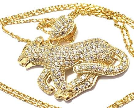 """Solid .925 Sterling Silver, 1.25ctw White Diamonique """"Panther"""" Necklace"""