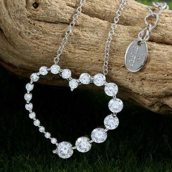 Solid .925 Sterling Silver, 1.25ctw White Topaz Heart Shape Necklace