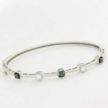 Solid .925 Sterling Silver, 1.26ctw White Topaz & Genuine Blue Diamonds Bracelet