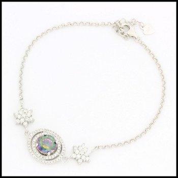 Solid .925 Sterling Silver, 1.28ctw Genuine Mystic Topaz & 0.74ctw Genuine White Topaz Bracelet