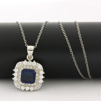 Solid .925 Sterling Silver, 1.28ctw Sapphire & 0.69ctw White Topaz Necklace