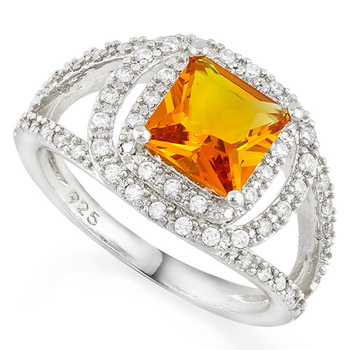 Solid .925 Sterling Silver, 1.30ctw Citrine & White Sapphire Ring sz 7