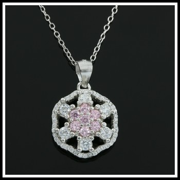 Solid .925 Sterling Silver, 1.30ctw Pink & White Topaz Necklace