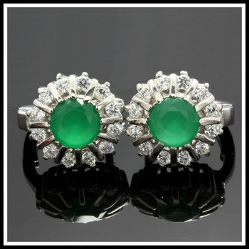 Solid .925 Sterling Silver, 1.41ctw Peridot & White Sapphire Earring