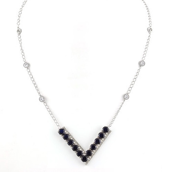 Solid .925 Sterling Silver, 14.52ctw Blue & White Sapphire Necklace