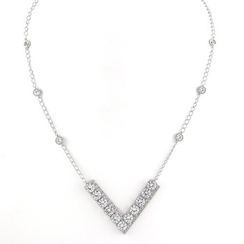 Solid .925 Sterling Silver, 14.95ctw (AAA Grade) CZ's Necklace