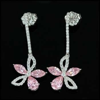 Solid .925 Sterling Silver & 14k White Gold Plated, 2.06ctw AAA Grade CZ's Earrings