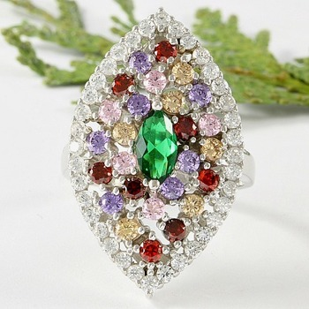 Solid .925 Sterling Silver & 14k White Gold Plated, 2.25ctw Genuine Multi-Color Gemstones Ring Size 7