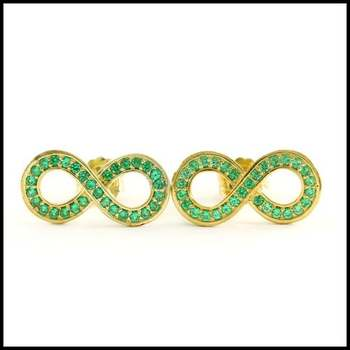 Solid .925 Sterling Silver & 14k Yellow Gold Plated, 0.60ctw Emerald Earrings