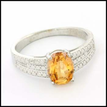 Solid .925 Sterling Silver, 1.50ctw Genuine Citrine Ring Size 7