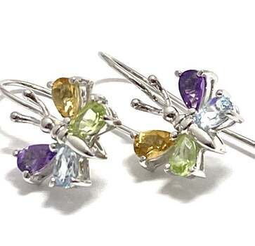 Solid .925 Sterling Silver, 1.50ctw Multi-Color Stone Earrings