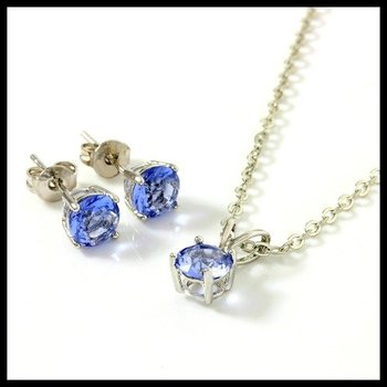 Solid .925 Sterling Silver, 1.50ctw Tanzanite Set of Necklace & Earrings