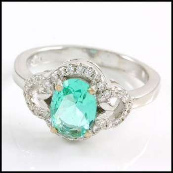 Solid .925 Sterling Silver, 1.50ctw Tourmaline & AAA Grade CZ's Ring Size 5.5