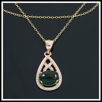 Solid .925 Sterling Silver, 1.50ctw White Sapphire & Cabochon Emerald Necklace
