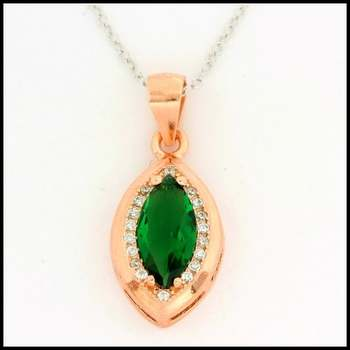 Solid .925 Sterling Silver, 1.50ctw White Sapphire & Emerald Necklace