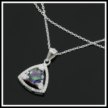Solid .925 Sterling Silver, 1.50ctw White Sapphire & Green Mystic Topaz Necklace