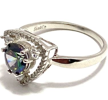 Solid .925 Sterling Silver, 1.50ctw White Sapphire & Green Mystic Topaz Ring sz 6