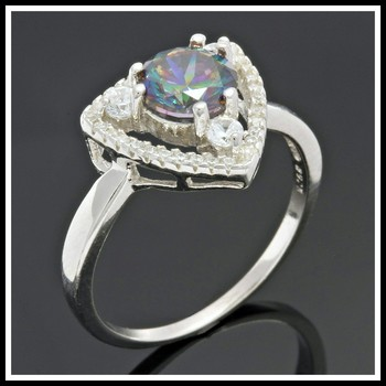 Solid .925 Sterling Silver, 1.50ctw White Sapphire & Green Mystic Topaz Ring sz 7