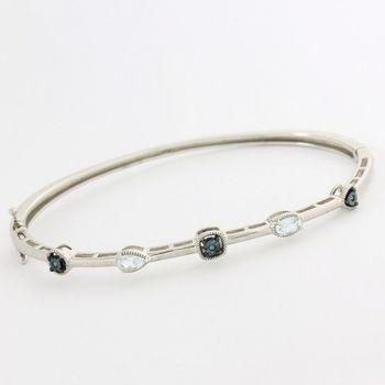Solid .925 Sterling Silver, 1.51ctw White Topaz & Genuine Blue Diamonds Bracelet