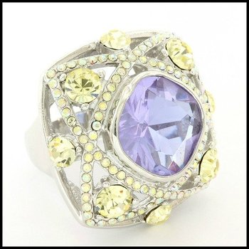 Solid .925 Sterling Silver, 15x15mm Blue Topaz & 4.25ctw Mistique Yellow Topaz Ring sz 7.5