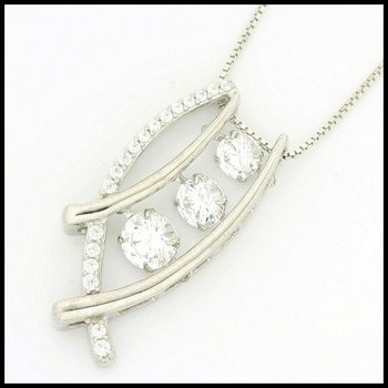 Solid .925 Sterling Silver, 1.64ctw (AAA Grade) CZ's Dancing Diamond Necklace