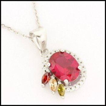 Solid .925 Sterling Silver, 1.64ctw Ruby, 0.04ctw Peridot & 0.04ctw Citrine Necklace