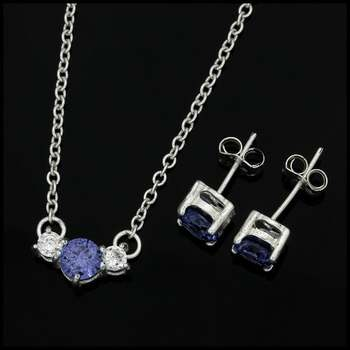 Solid .925 Sterling Silver, 1.6ctw AAA Grade Blue CZ's & 0.1ctw AAA Grade White CZ's Set of Necklace & Earrings