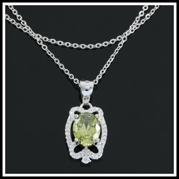 Solid .925 Sterling Silver, 1.70ctw White Sapphire & Peridot Necklace
