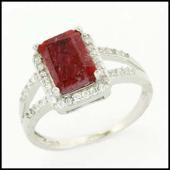 Solid .925 Sterling Silver, 1.74ctw Genuine Dyed Ruby & 0.21ctw White Sapphire Ring sz 7