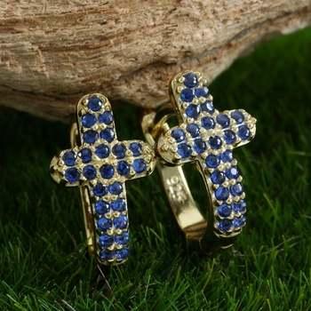 Solid .925 Sterling Silver, 1.75ctw Sapphire Cross Earrings