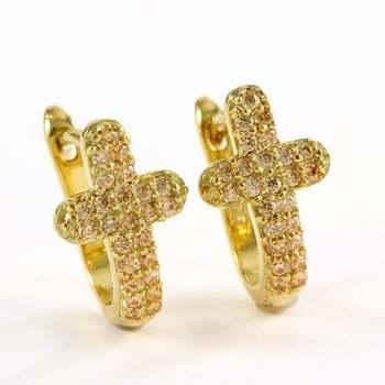 Solid .925 Sterling Silver, 1.75ctw Yellow Topaz Cross Earrings