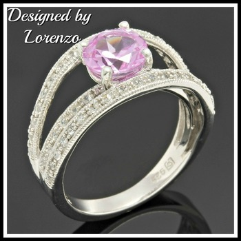 Solid .925 Sterling Silver, 1.76ctw Pink Sapphire & 0.50ctw White Sapphire Designer Authentic ColoreSG by LORENZO Ring Size 6.5
