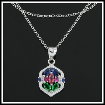 Solid .925 Sterling Silver, 1.80ctw Multicolor Stones Necklace