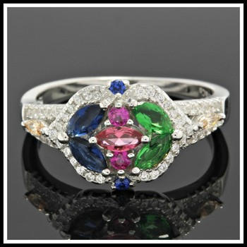 Solid .925 Sterling Silver, 1.80ctw Multicolor Stones Ring sz 7