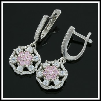 Solid .925 Sterling Silver, 1.80ctw Pink & White Topaz Earrings
