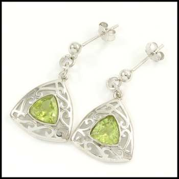 Solid .925 Sterling Silver, 1.84ctw Peridot Earrings