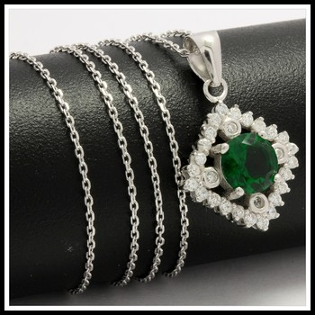 Solid .925 Sterling Silver, 1.85ctw Emerald & White Sapphire Necklace