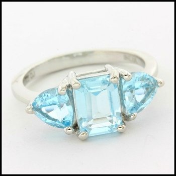 Solid .925 Sterling Silver, 1.89ctw Genuine Blue Topaz Ring sz 6