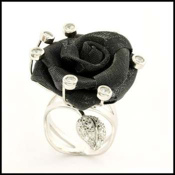 Solid .925 Sterling Silver & 18k White Gold, Genuine White Topaz Mash Rose Ring Size 7