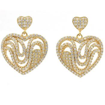 Solid .925 Sterling Silver & 18k Yellow Gold & White Topaz Designer Samuelle And Co. Earrings